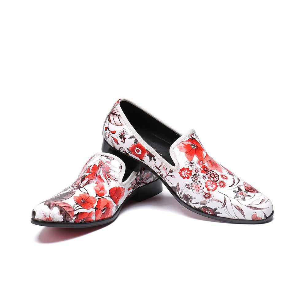 Los nuevos hombres guapos holgazanes cómodos de los zapatos ocasionales de calidad superior floral verano de los hombres de los deslizadores