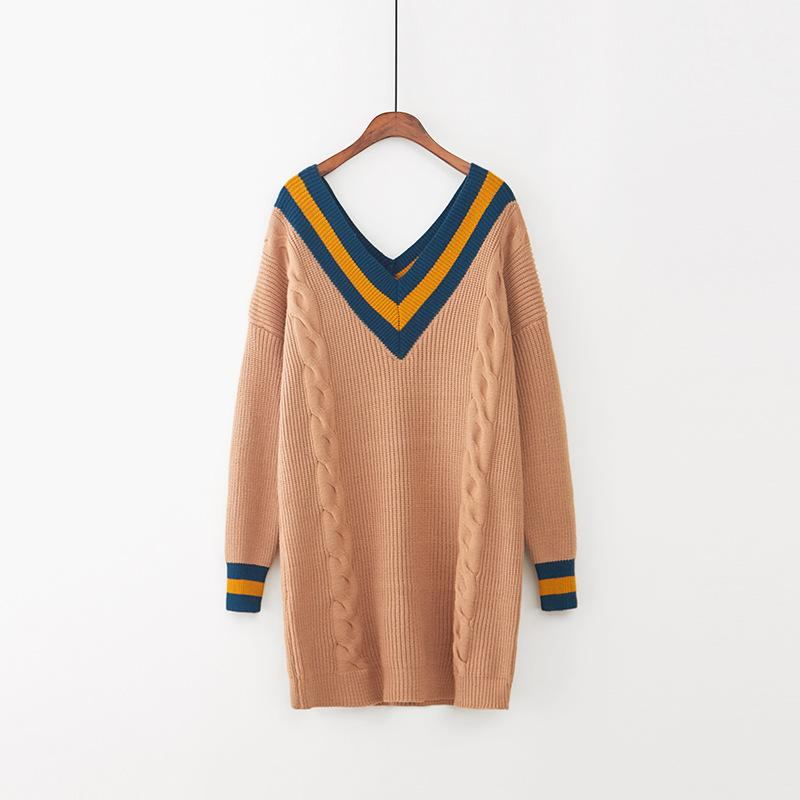 OMCHION Pull Femme 2017 Autumn Women Sweater Dress Korean Jumpers V Neck Backless Pullover Patchwork Knitted Long Sweater LMY74