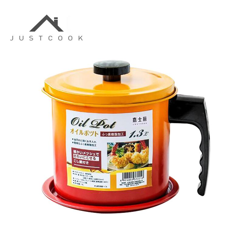 Justcook 1.3/1.6L Creative Oil Container Leakproof The Fried Oil Filter Can Bottle Pot Storage Bottle Kitchen Cooking Tools