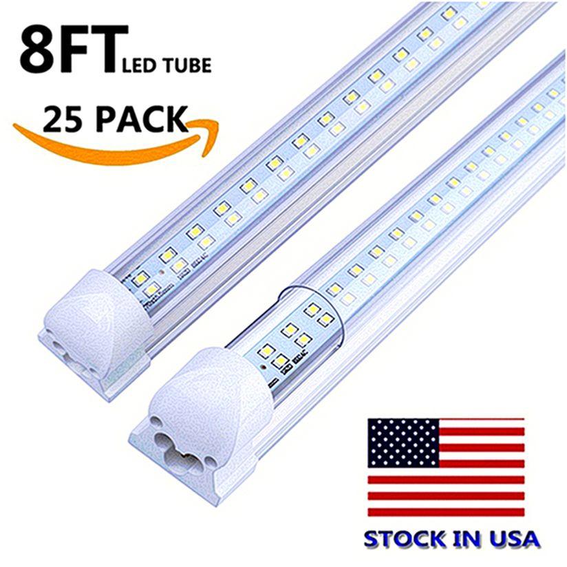 صف مزدوج LED T8 أنبوب 4FT 28W 8FT 72W 7200LM SMD2835 LED متكاملة ضوء لمبة مصباح 4 القدم 8 أقدام أدى أضواء متجر