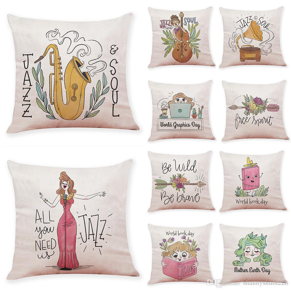 JAZZ SOUL Pattern Linen Cushion Covers Home Office Sofa Square Pillow Case Decorative Pillow Covers Without Insert(18*18Inch)