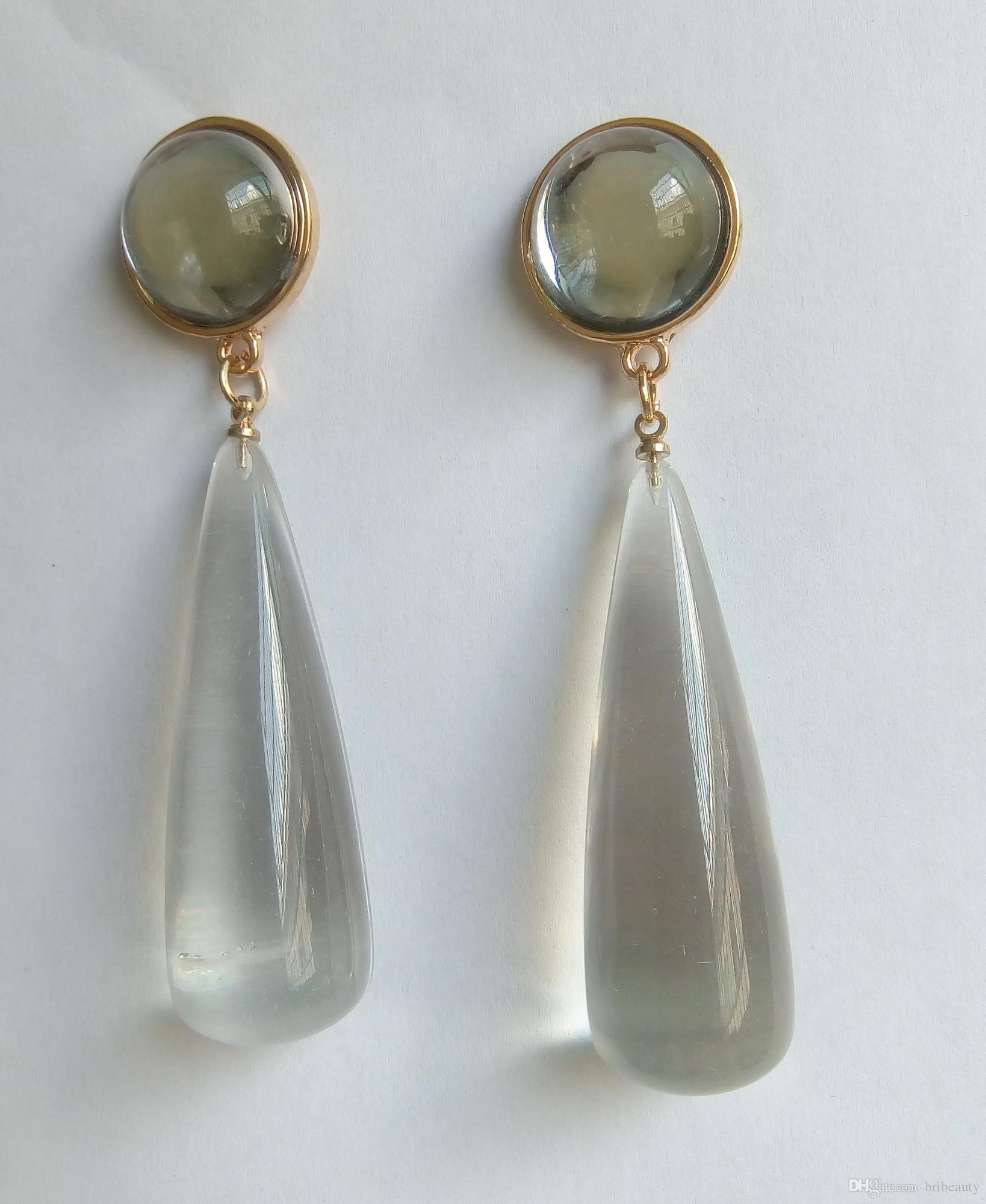 Bribeauty Fashion Lucite orecchini New Clear Resin Stone Drop Earring 14K gioielli in ottone placcato oro classico per le donne