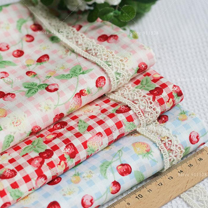Shabby Chic 100% Cotton Cute Cherry Printed Poplin Fabric Good Quality Tissue for Dress Garments 145cm 57in Wide