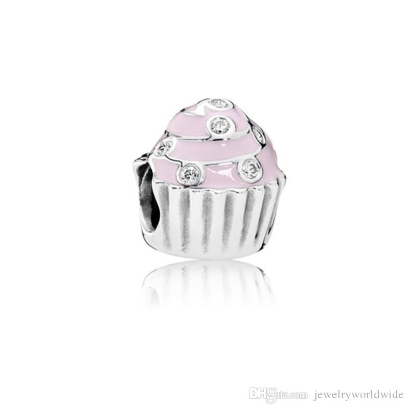 Pink Cupcake With Crystal Charm Bead Big Hole Fashion Women Jewelry European Style For DIY Bracelet Necklace