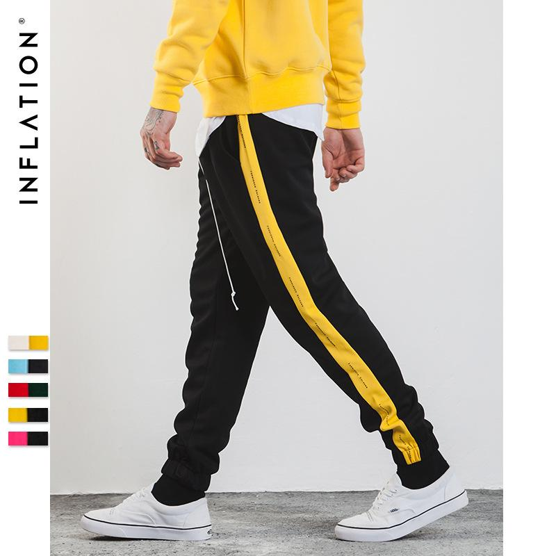 INF Erkek Giyim | 2018 Sonbahar Elbise Yeni Stil Retro Darbe Yan Çizgili Baskı Slack erkek Tayt Spor Pantolon Rahat