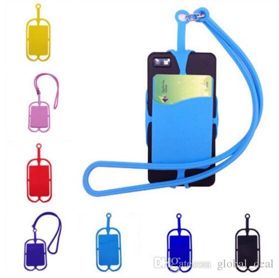 Evrensel Cep Telefonu Kordon Kart Tutucu Silikon Cüzdan Kılıf Kredi KIMLIK Kartı Çanta Tutucu Cep cüzdan kart sahibinin İpi ile iphone x