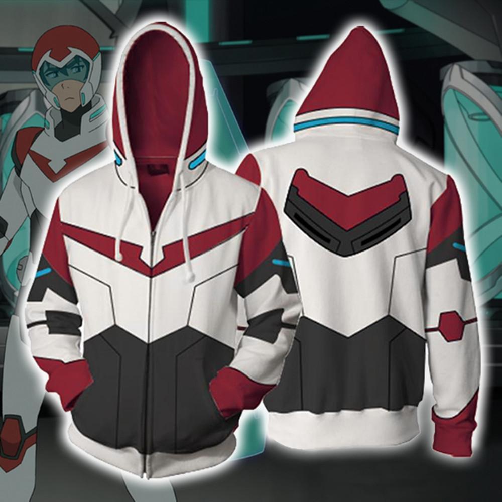 Asya Boyutu Japonya Anime Voltron Keith Unisex Cadılar Bayramı 3D Cosplay Kostüm Fermuar Uzun Kollu Spor Ceket Ceket Hoodie