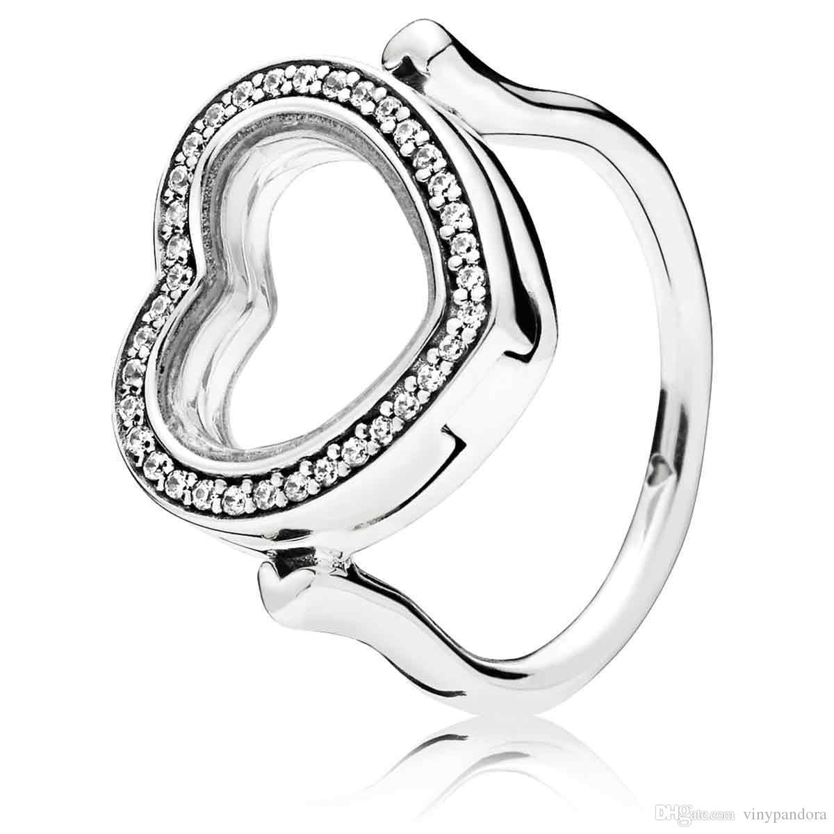 925 Sterling Silver Sparkling Flottant Coeur Médaillon Anneau Fit Pandora Bijoux Fiançailles Amoureux De Mariage De Mode Bague Pour Femmes