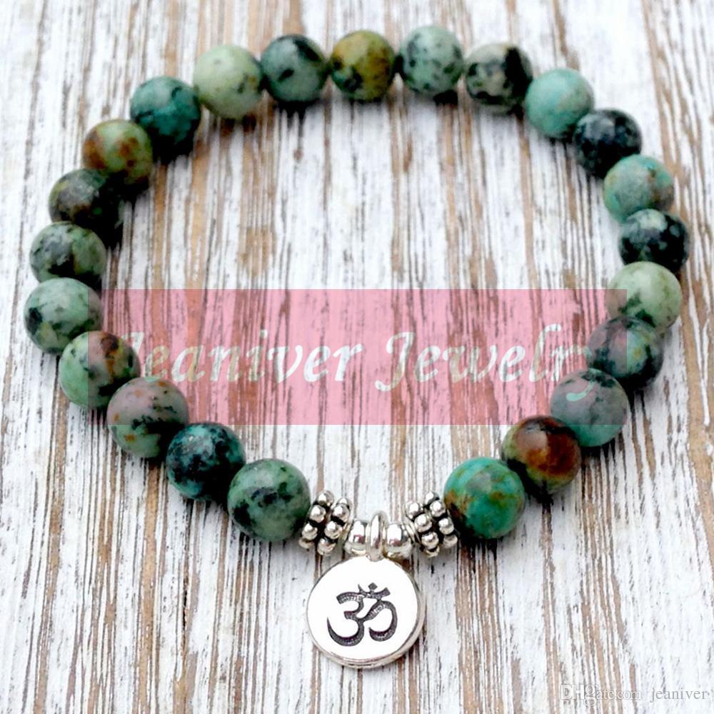 Jeaniver Nouveau design Bracelet véritable pierre africaine Tur poignet Perles Mala Chakra Bracelet Yogi bouddhiste cadeau Bracelet de guérison