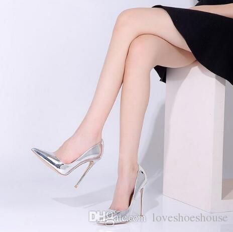 Sexy Punta estrecha Astilla Champagne Color Tacón alto Mujeres Bombas Slip-on Wedding Dress Shoes Stiletto Zapatos de tacón alto Envío gratis