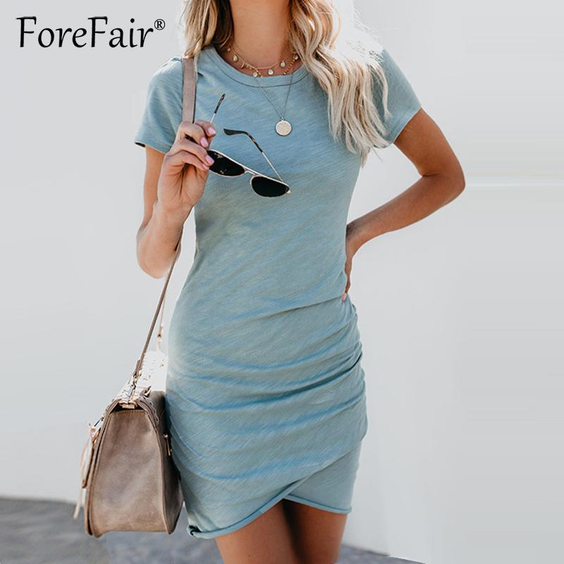 Forefair Thin Summer Dress 2018 Women Sundress Short Sleeve O Neck Ruched Bodycon Dress Ladies Casual Solid T Shirt Dresses D1891212