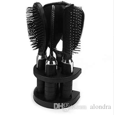 JEYL 5pcs/set Women Ladies Hair Brush Massage Comb Mirror Holder Set With Mirror and Stand