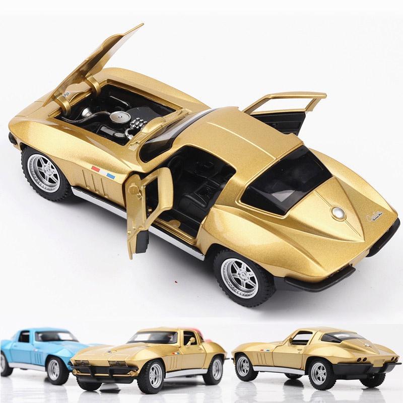 Maßstab 1:32 Die Fast Furious 8 Corvette C2 Metalldruckguss Auto Spielzeug Geschenk / Sammlung / Kinder zurückziehen