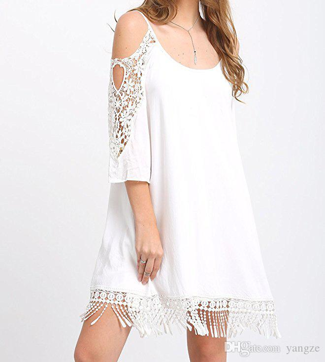 Hot Selling Summer Dresses for Women Clothes Fashion Cold Shoulder Crochet Lace Sleeve Loose Beach Dress 6 Color S-XXL ZL3056