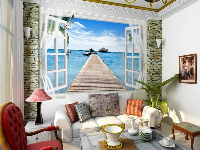 Özel Perakende 3D Deniz Manzaralı Maldivler Sahte Pencere Genişleme Uzay Koridor Arka Plan Duvar Boyama Yelkenli Kuş Evi Promenade Mural
