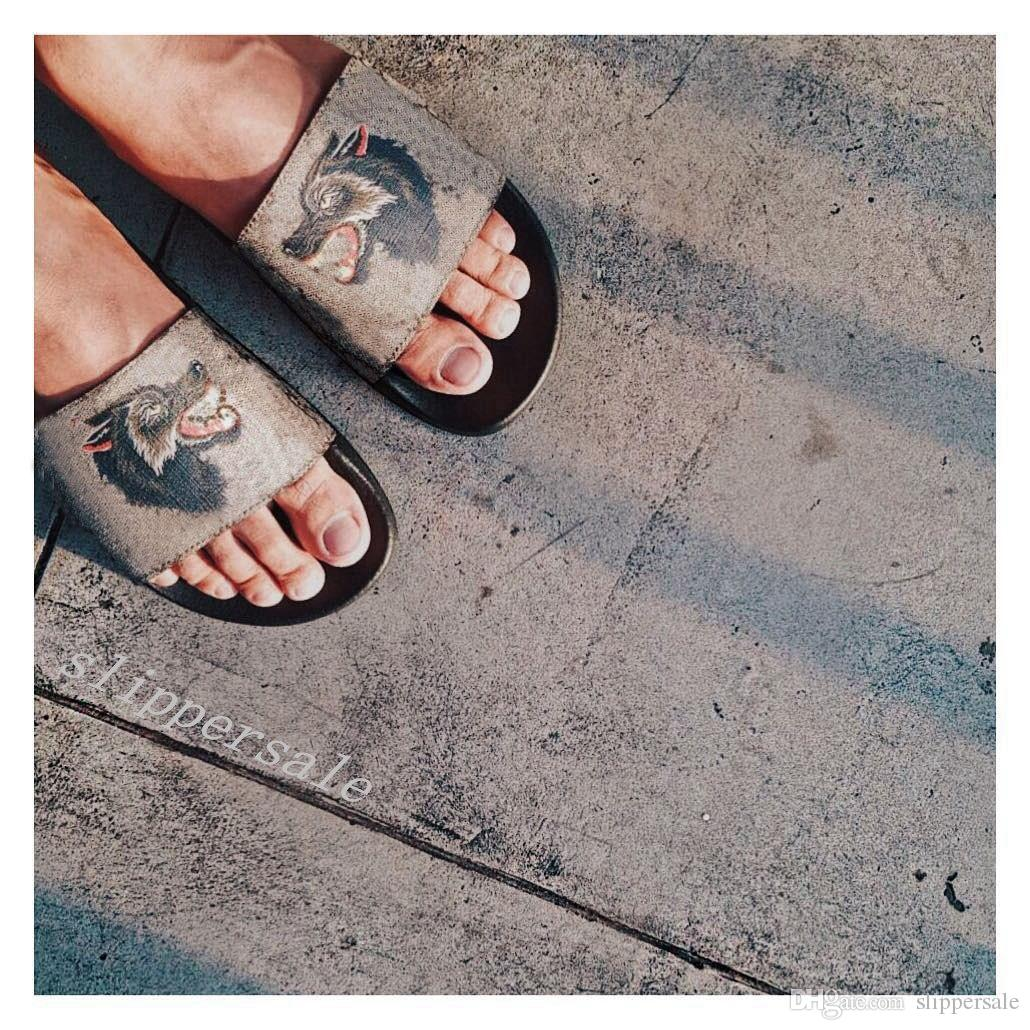 mens womens angry wolf slide sandals slippers with rubber sole fashion outdoor indoor causal flip flops