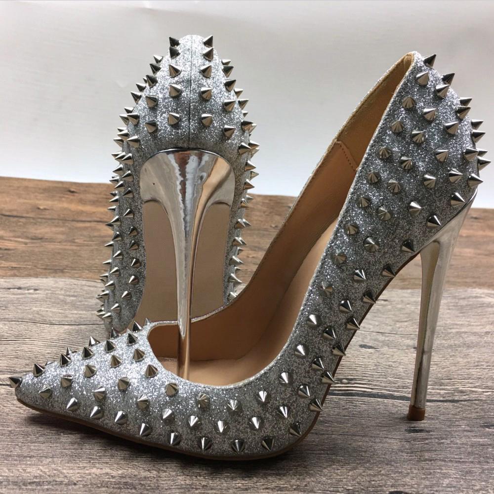 Deificación sexy tacones de aguja bombas Sapato Feminino remaches tachonado zapatos de fiesta de lujo tacones altos oficina plata Shses para mujeres