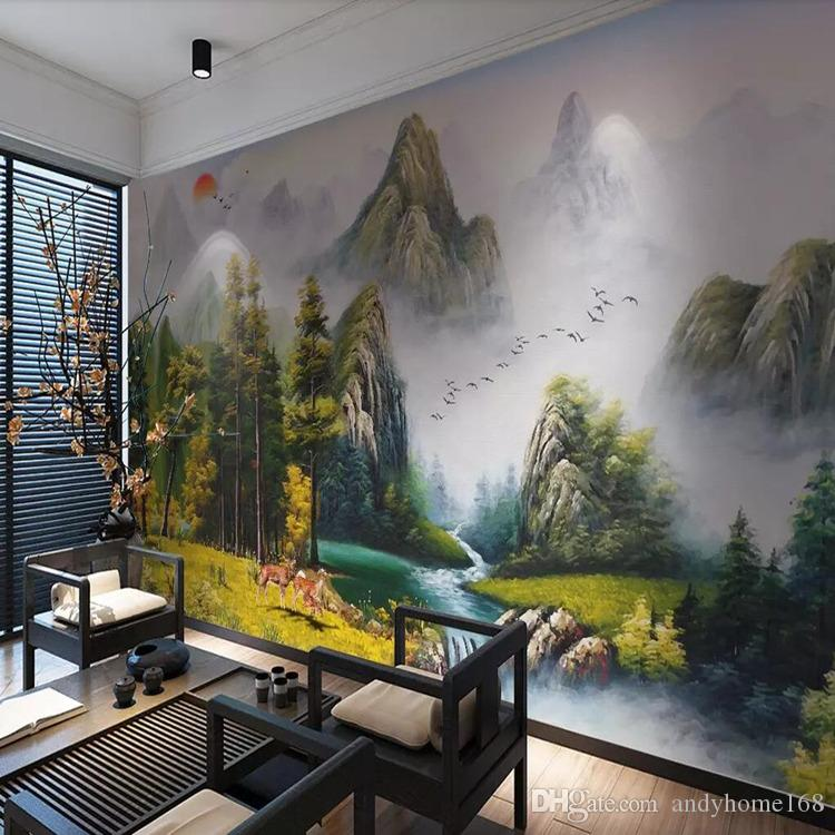 Arkadi Hand-painted European landscape living room oil painting background wall water and wealth Fengshui landscape murals