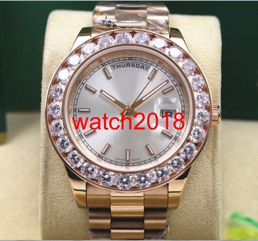 Najwyższej jakości Luksusowy zegarek 18k Rose Gold Męskie 41 mm Pres1dent D @ Ydate 18038 Większy Diamond Bezel Watch Automatyczne męskie zegarek