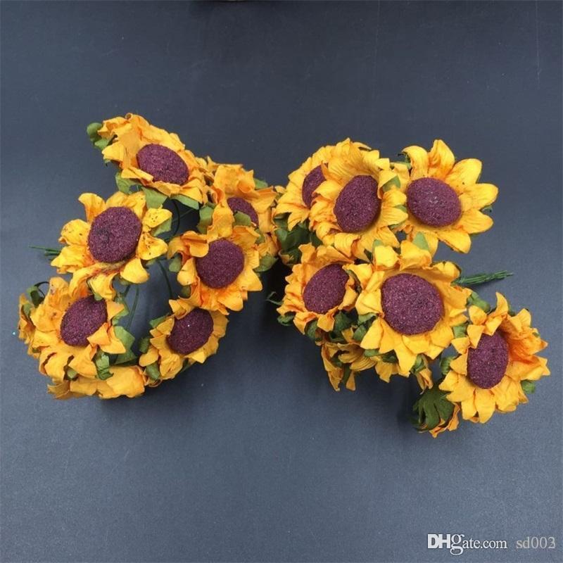 Yapay Kağıt Ayçiçeği Simülasyon Sahte Sun Flower Düğün Parti Süslemeleri Için Taze Stil Fotoğraf Prop Yeni Tasarım 10yj ZZ