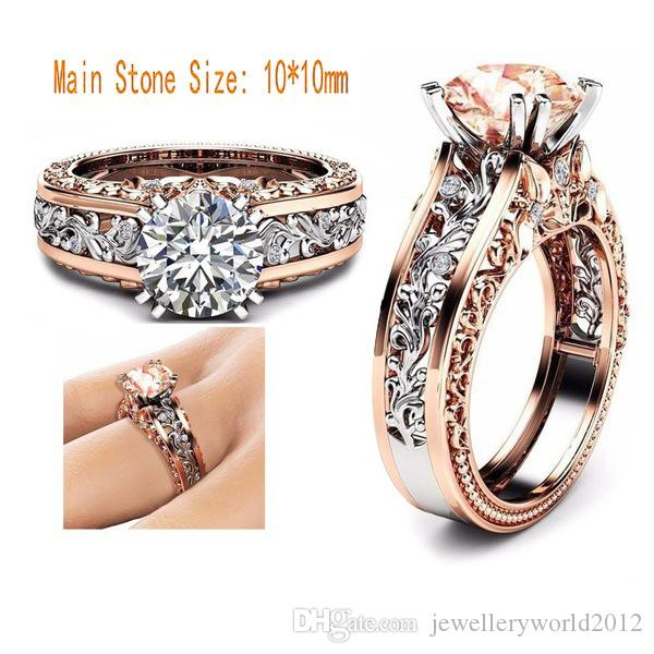 Luxury lady zircon Alloy plated with 14k rose gold Women's ring