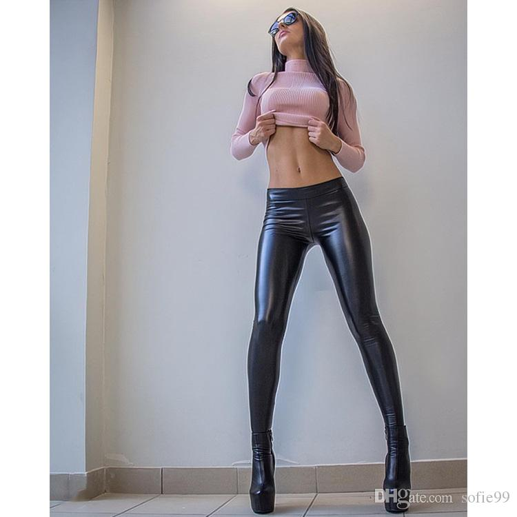 the latest beautiful style super specials 2019 Punk Rock Style PU Faux Leather Leggings Purple Gold Metallic Sexy  Bright Sequin Pants Shining Fitness Legging For Women From Sofie99, $7.93 |  ...