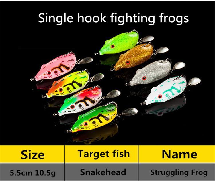 Soft Ray Struggling Frog Single hook Laser Fishing Lure 5.5cm 10.5g bionic Frog Snakehend False Spinner bait
