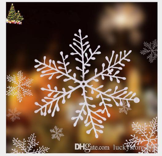 Weihnachtsschneeflocke-Blatt-Verzierung Frohe Weihnachtsbaum-Haus-Dekoration mit glänzender Fabrik liefert weiße Plastikweihnachtsschneeflocke