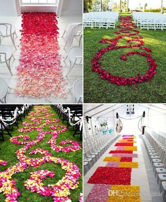 Poliéster Flor de la boda Pétalos de rosa para la decoración de la boda Decoración del corredor del pasillo Accesorios de alfombras