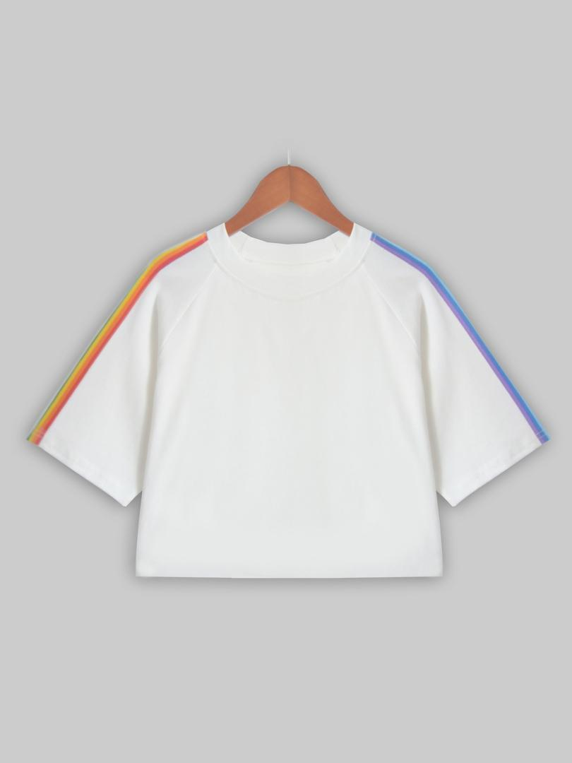 04c52f83a28 New 2018 Summer Women White T Shirt Causal Loose Short Sleeve Crop Top  Simple O Neck Striped Rainbow Short T Shirt Nerd T Shirts Design Shirt From  Merrylady ...