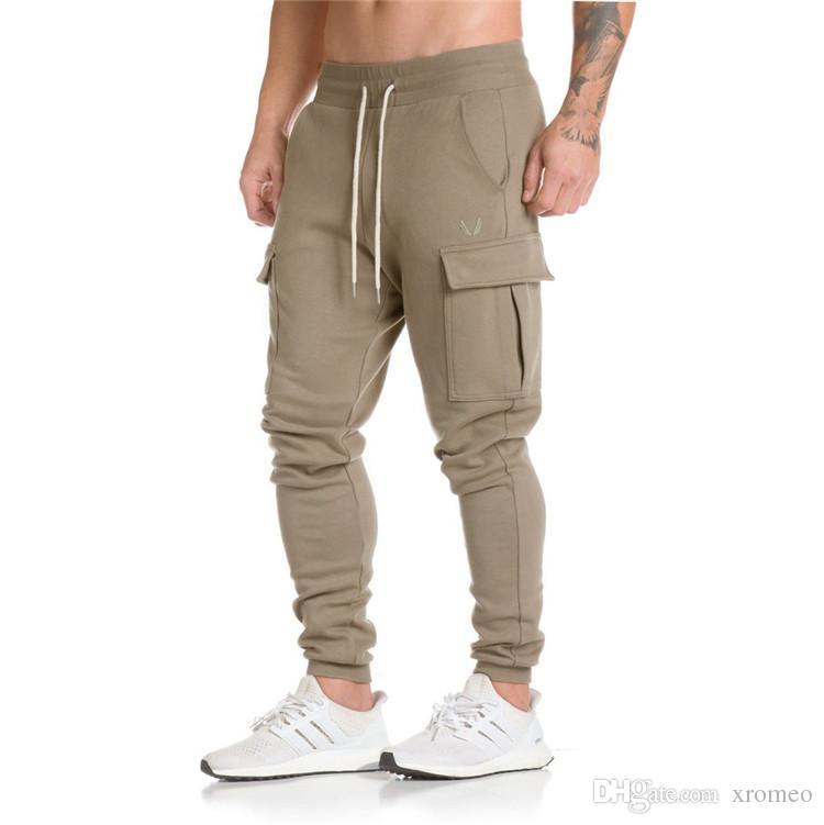 Pantaloni mimetici mimetici da uomo Pantaloni sportivi a tinta unita casual Pantaloni da jogging per grandi tasche Pantaloni sportivi con coulisse e pantaloni mimetici allentati YB