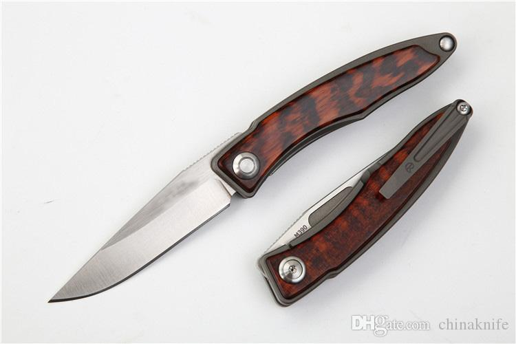 New M390 Steel CR EDC Pocket Folding Knife Satin Finish Blade TC4 Titanium Alloy + Snake Wood Handle Best Gift knives EDC Gear