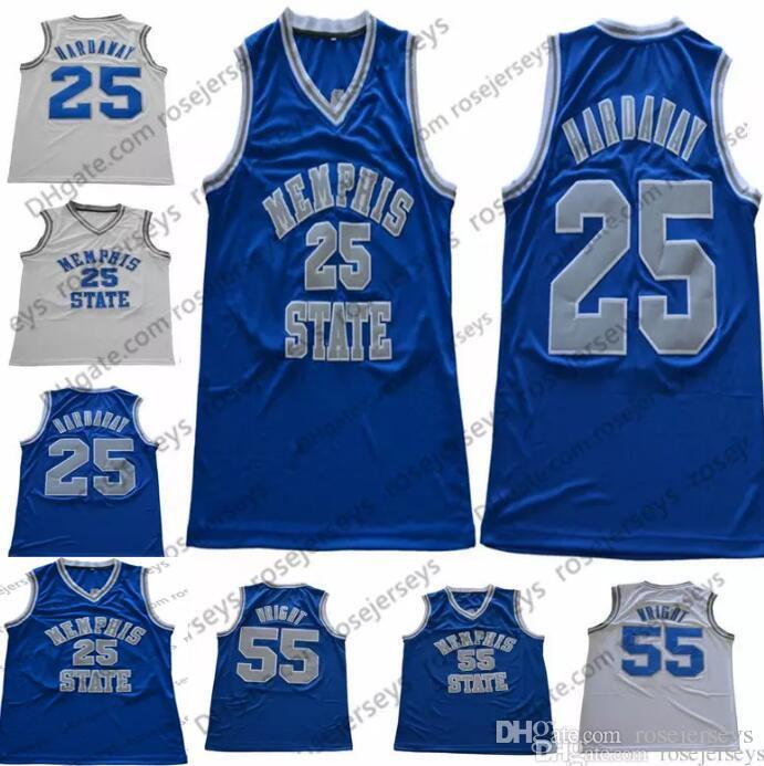 Acquista NCAA Memphis State Tigers   25 Penny Hardaway Maglie Cucite Retro  55 Lorenzen Wright College Basketball 1 Nero Blu Gessato Bianco S 3XL A   16.99 ... ece3a0c1e