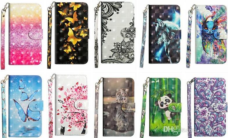 For Moto E5 Z3 Play Galaxy (J3 J7 Y3 Y7)2018 Lace 3D Butterfly Leather Wallet Case Flower Panda Tree Bird Flip Covers Cartoon Wolf Owl Coque