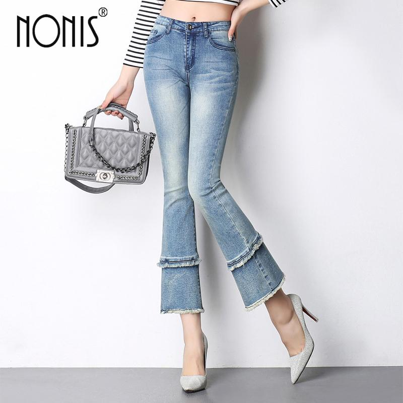 Nonis High Waist women 2017 summer flare pants ankle length plus size female denim small Slim Sexy jeans trousers pant