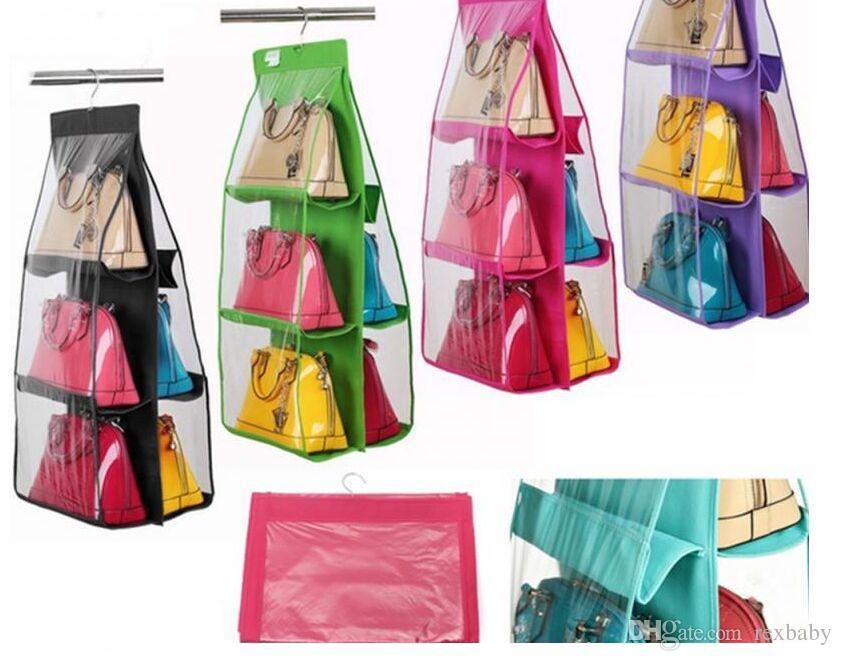 4 Color Fashion 6 Pockets Hanging Storage Bag Purse Handbag Tote Bag Storage Organizer Closet Rack Hangers