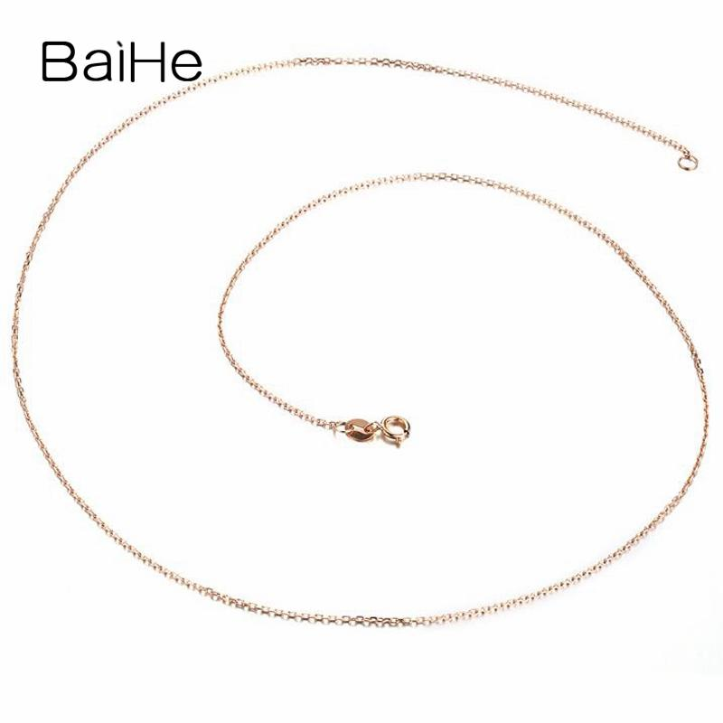 BAIHE Solid 18K Rose Gold Certified Cute/Romantic Wedding Party Fine Jewelry Gift Necklaces