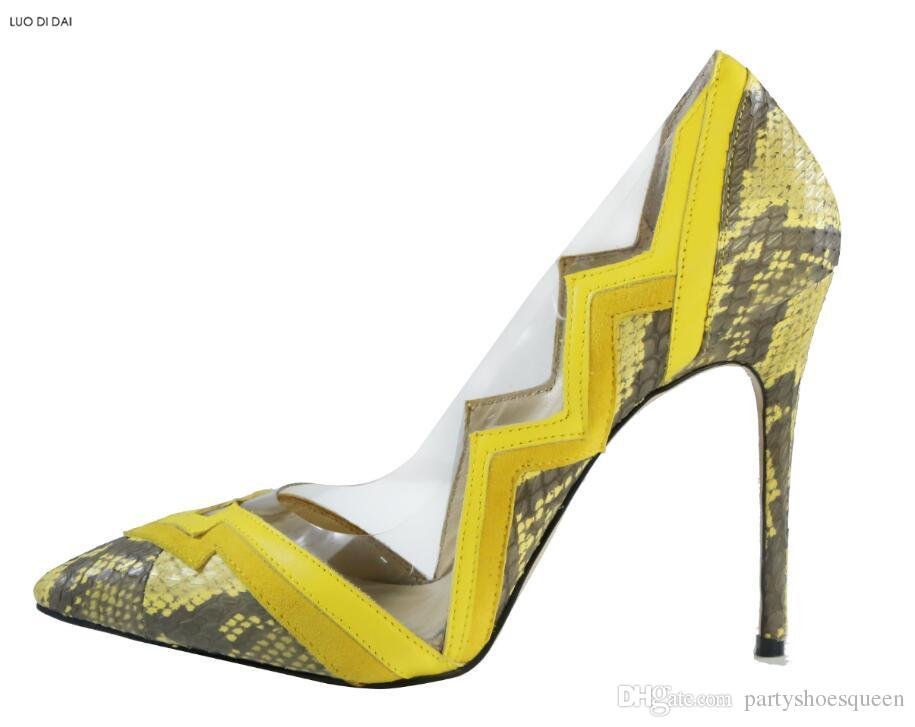 2018 New women yellow high heels thin heel snakeskin print pumps party shoes slip on PVC pumps dress shoes wedding shoes