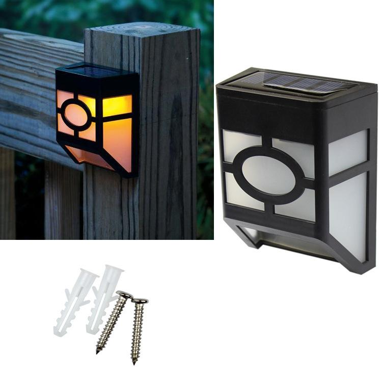 Lampe de jardin solaire clôture jardin extérieur 2LED lampadaire solaire