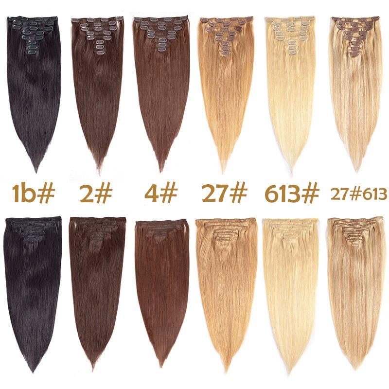 Clip nelle estensioni dei capelli Diritto capelli umani multicolore capelli brasiliani 8 pezzi / set 17 Clip all'ingrosso