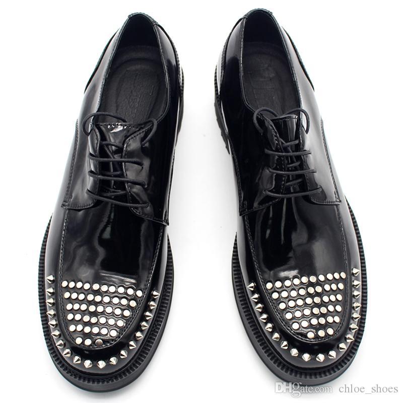 Sapatos de Plataforma Handmade Sapatos Hombre Sapatos Vaca Couro Masculino Casamento Oxfords Moda Formal Business Shoe