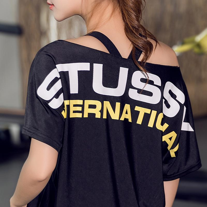 37b95264535 New Yoga T Shirt Tops Summer Loose Off-Shoulder Letter Printed Women Short  Sleeve Sports Gym Fitness Running Quick Dry Crop Tops