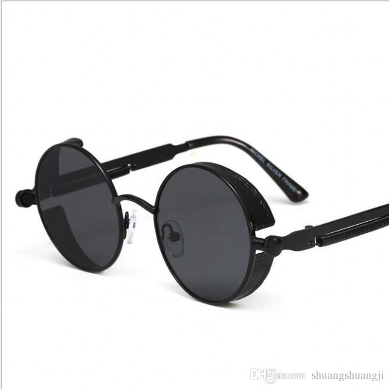 7141dbc48e7d Guduo Gothic Steampunk Round Metal Sunglasses for Men Women Mirrored Circle  Sun glasses Brand Designer Retro Vintage Oculos UV400