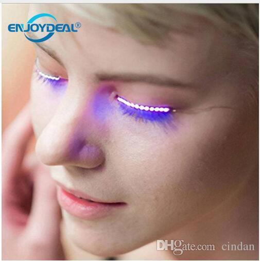 Waterproof Motion Activated LED Glow Long Halloween Eyelashes Flashing Light Holiday Party Club Bar eyelashes Novelty Lighting 1 Pair