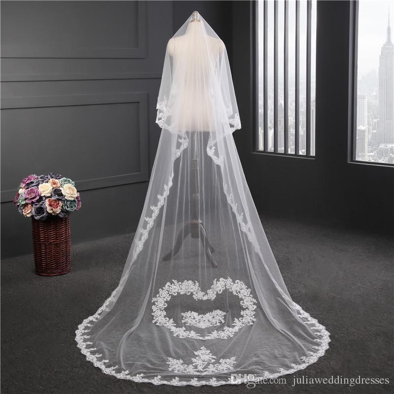 2018 nuevo de alta calidad larga Blanco Marfil velo de novia apliques de encaje con cuentas de novia Velos de novia Accesorios de boda para los vestidos de boda QC1215