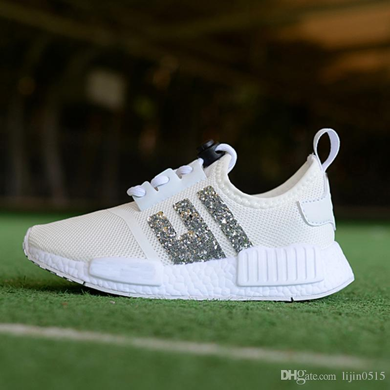 Children's boys girls NMD R1 Baby Kids toddler Shoes White Red Pink Crystal sequins trainers city sock sneakers Running Shoes size 28-35