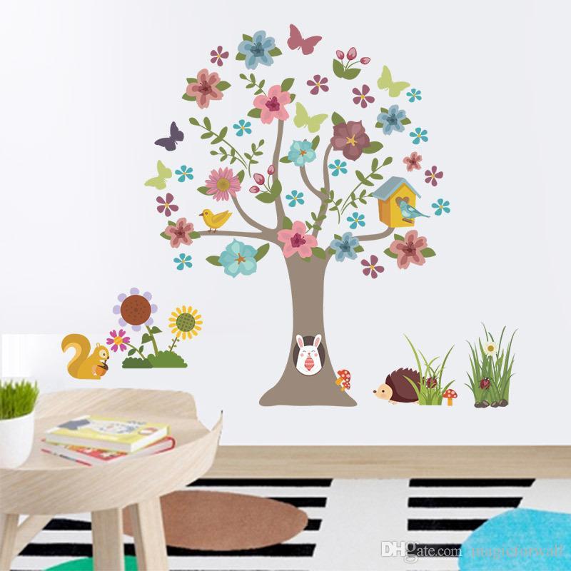 Großhandel Cartoon Baum Tiere Wandaufkleber Kinderzimmer Kinderzimmer  Wandbild Poster Kunst Bunte Blumen Baum Vögel Home Wallpaper Poster  Hängende ...