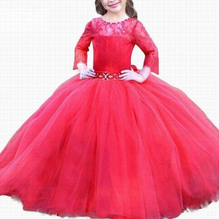 Compre Vestidos De Gala Para Niñas Vestido De Princesa Nueva Llegada Vestido De Niña De Flores De Encaje De Manga Larga Rojo Puffy Tulle Vestidos
