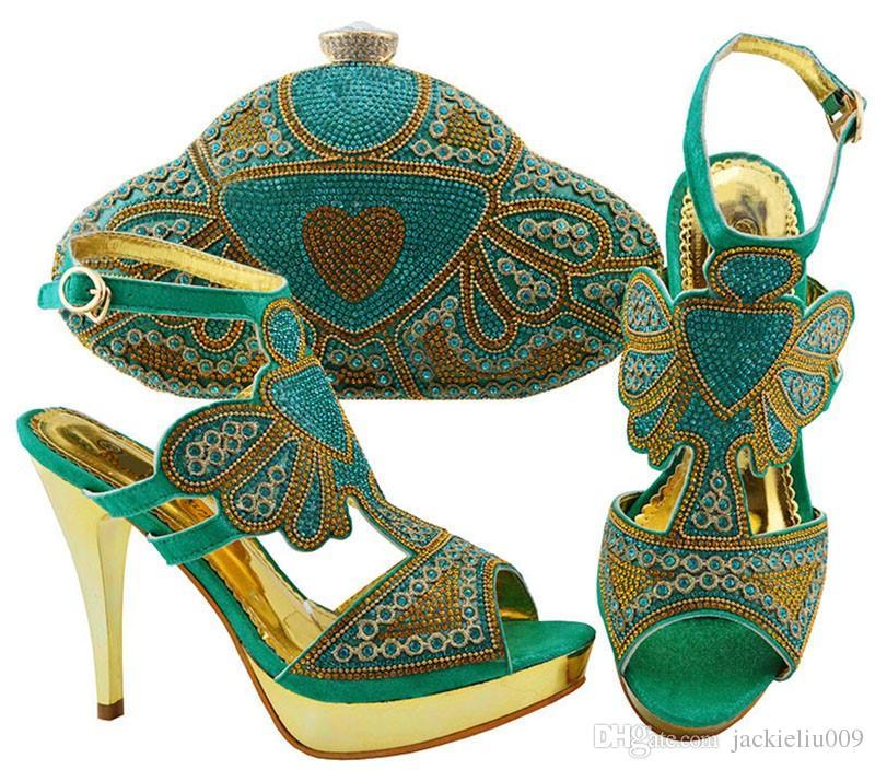 Bombas de mulheres mais populares da cerceta com cristal e rhinestone sapatos africanos jogo bolsa combinada para o vestido JZC004, calcanhar 11.5CM