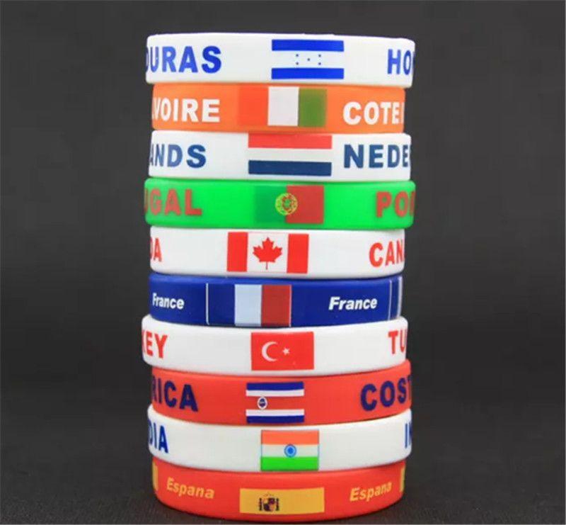 Copa Mundial de Rusia 2018 pulseras deportivas Muchos países banderas nacionales pulsera de silicona para fútbol fútbol aficionados regalo de la joyería de recuerdo